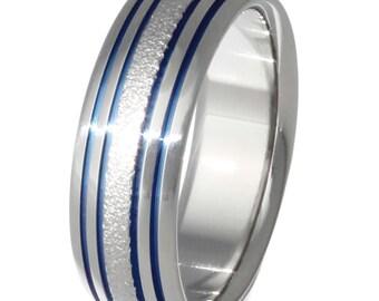 Unisex Titanium Wedding Band - Unique Frost Finish - Thin Blue Line - Blue and Frost Titanium Ring - f15