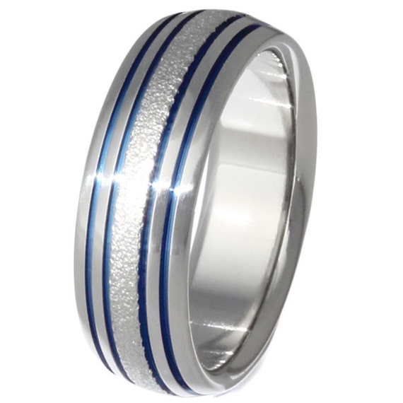 Unisex Titanium Wedding Band - Unique Frost Finish - Thin Blue Line - Blue and Frost Titanium Ring - f15