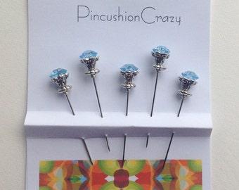 Blue Diamanté  Pins - Fancy Beaded Pins - Stick Pins - Embellishment Pins - Scrapbook Pins - Cardmaking - Embellishments