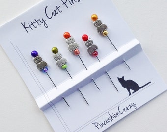 Beaded Cat Pins - Decorative Sewing Pins - Kitty Cat Pins - Embellishment Pins - Dress up your Pincushion - Gift for Quilter - Sewing Pins