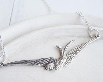 Bird Necklace - Silver Soaring Bird - Horizon