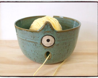 Turquoise Knitting Monster Yarn Bowl by misunrie