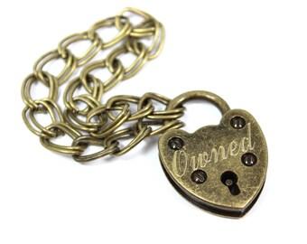 Heart Padlock Bracelet, Antique Brass Bracelet, BDSM Bracelet, His and Hers Jewelry, For Couples, Anniversary Gift, Engraved Padlock