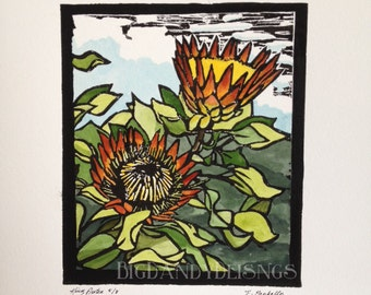 King Protea Lino Cut Limited Edition