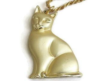 Vintage signed MONET Kitty Cat Pendant Necklace