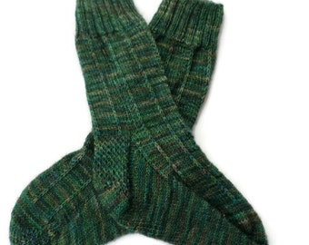 Socks - Hand Knit Women's Variegated Green Socks - Size 7-8