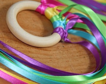 Wooden Magical Dancing Fairy Ribbon Rings - Bright Rainbow - Waldorf inspired toy from Natural Kids and Toys