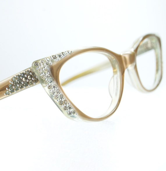 Glasses Frames With Bling : Pointy Tan Rhinestone Cat Eye Glasses or Sunglasses Frames