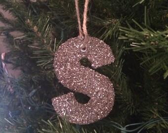 Gold Glitter Initial Ornament