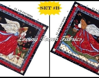 "Set of 2 / SSI  ""Angels From Above"" Chrismas Angel Cotton Fabric PanelS 11 1/2"" X 11 1/2"" Ea #B"