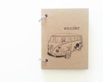 Wander/Travel/Vacation Spiral/Ring Bound Notebook Choose your Size-Kraft Journal-50 Pages-Recycled Kraft Sketchbook/Camper Van