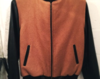 Varsity style leather and wool combo jacket sizes S to XL