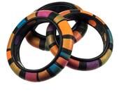 Multi color striped polymer clay bangle bracelet
