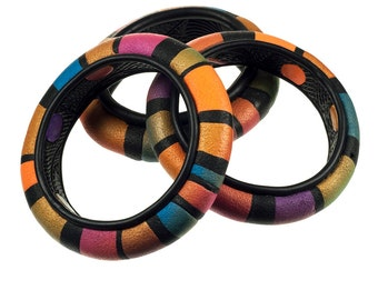 Multi color striped polymer clay bangle bracelet