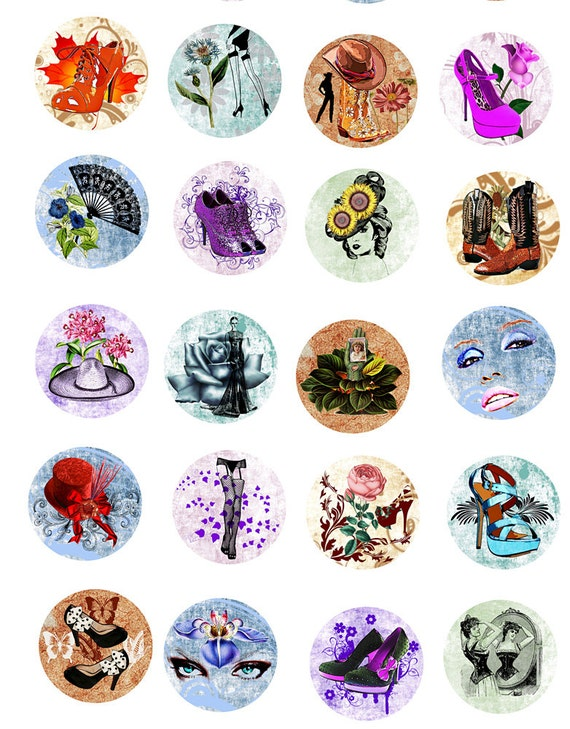 beauty makeup high heel shoe clipart 1 INCH circles Digital Download flowers fashion Collage Sheet graphic images