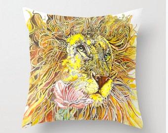 Lion Throw Pillow Case Original Art Room Decor