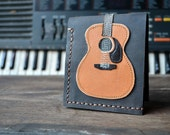 Free!! initials stamp Hand Stitch Men Wallet Acoustic guitar Vintage Colored Wood