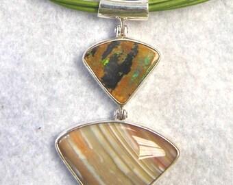 Opal Jewelry, Genuine Australian Boulder Opal in Bright Green Flecks with Australian Agate - Item 243101