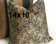 Masculine Pillow Cover, Brown Black Paisley Pillow, 14x18 Oblong Pillows, Brown Copper Sage, Brown Lumbar Pillow, Masculine Home Decor, SALE