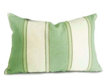 Green Cream Pillows, Striped Throw Pillow Covers, Coastal Cushions, Sea Foam Green Lumbar Pillow 12x18, 18x18,