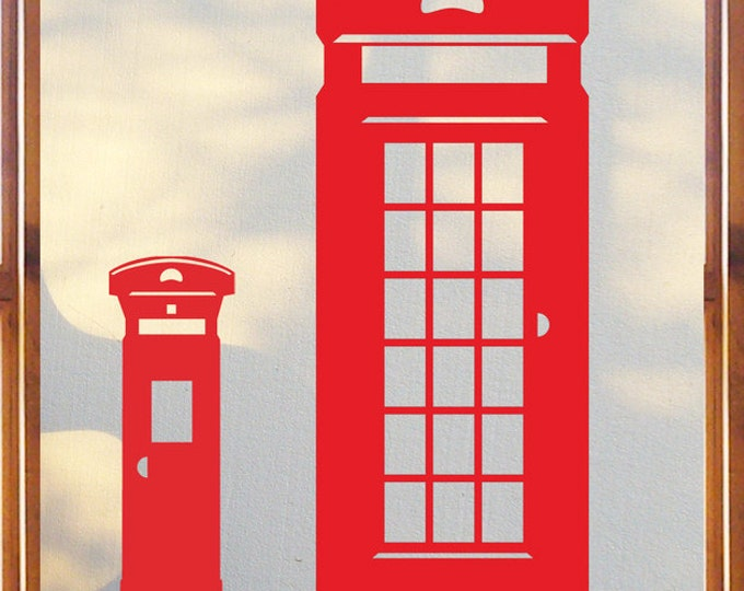 British telephone booth wall sticker and post box decal