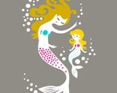 "8X10"" mermaid mother & daughter giclee print on fine art paper. dark gray, teal, magenta, dark blonde"
