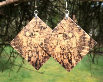 Large Wood Earrings Made From Resin Infused Spalted Hackberry