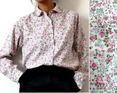 French Vintage Tiny Roses Print Cotton Peter Pan Collar Shirt