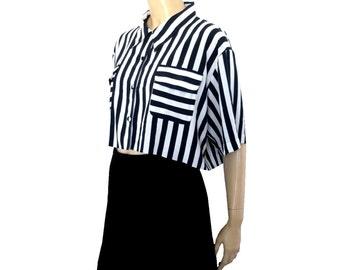 French Vintage Stripy Oversized Cropped Blouse