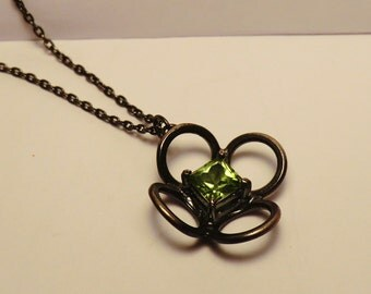 Silver Peridot Flower pendant - Oxidised sterling silver with square cut peridot