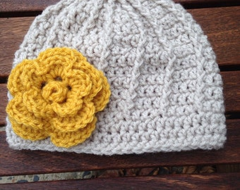 Child size crocheted flower hat with cording design you pick color
