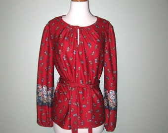 Vintage 1970s Red Floral Peasant Boho Hippie Top Blouse - S - M - Valentine's Day - For Her