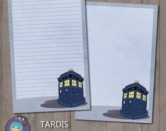 Tardis from Doctor Who Note Paper - stationery gift letter writing paper cute cartoon