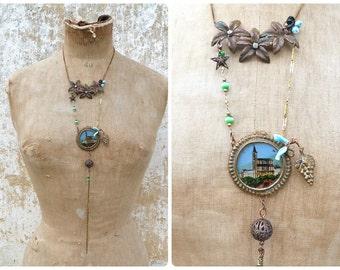 """Lourdes long sautoir necklace with  Lourdes handpainted """"fixe sous verre"""" medaillion  golden chains fringes & Antique glass paste"""