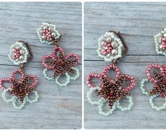 LES FLEURS  Handmade in France dangle beaded earrings