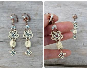 Romance cream & soft blue bees  /Handmade in France long  pendant earrings on leverbacks