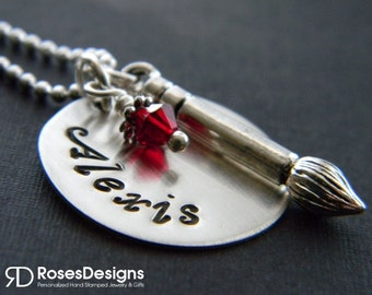 Personalized Artist Necklace, Art Brush Necklace, Paint Brush, by RosesDesigns