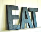 EAT Letters Large Wall Art Handmade Wood Sign Vintage Style Distressed Kitchen Cottage Home Decor - 12 inches tall