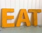 """Wooden EAT letter Sign - 8""""tall - Vintage Kitchen Cottage"""
