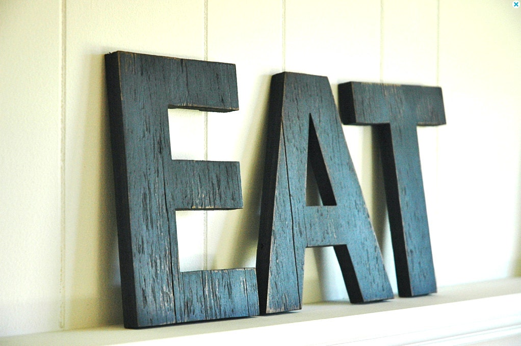 Eat letters large wall art handmade wood sign by for Decorative wooden letters for shelves