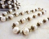 Baroque Glass Pearl Bead Chain 10mm Cream 18 Inches #041