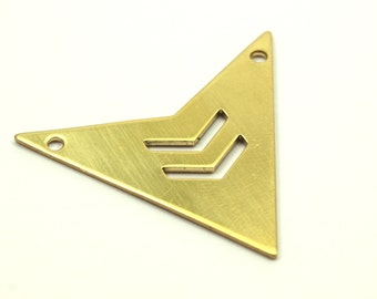 Brass Triangle Pendant, 8 Raw Brass Triangle Pendant with 2 holes with Chevron (33x33x33x0.60mm) B0163