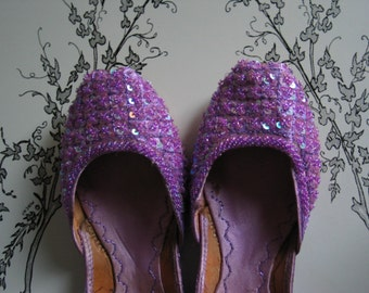 Lavender Purple Beaded Leather Shoes from India Gorgeous Colors Lovely And Elegant