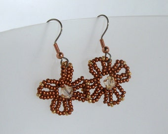 Copper Flower Earrings with Swarovski Crystals
