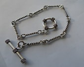 Sterling Silver Twisted Link bracelet with toggle clasp