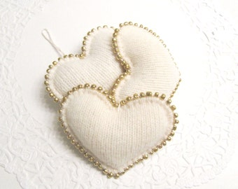 Soft White Beaded Heart Ornaments Handmade from Felted Wool Sweaters (no.375)