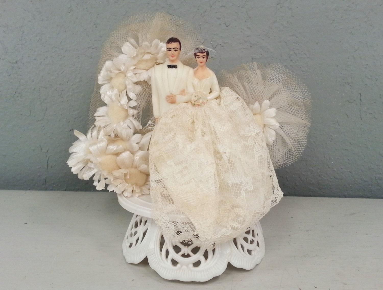 vintage wedding cake topper bride and groom tulle netting lace. Black Bedroom Furniture Sets. Home Design Ideas