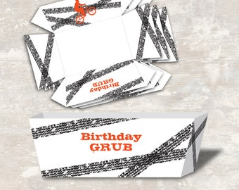 PRINT & SHIP BMX Birthday Party Food Tray (set of 12) >> personalized and shipped to you | Paper and Cake