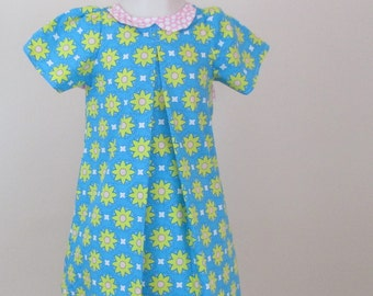 Teal Dress With Flowers Size 2T , Dress With Pleats And A Bow In the Back , Size 2 Summer Dress