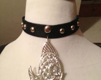 Leather Choker, Tribal, Tribal Fusion, Hooper, Funky Fish